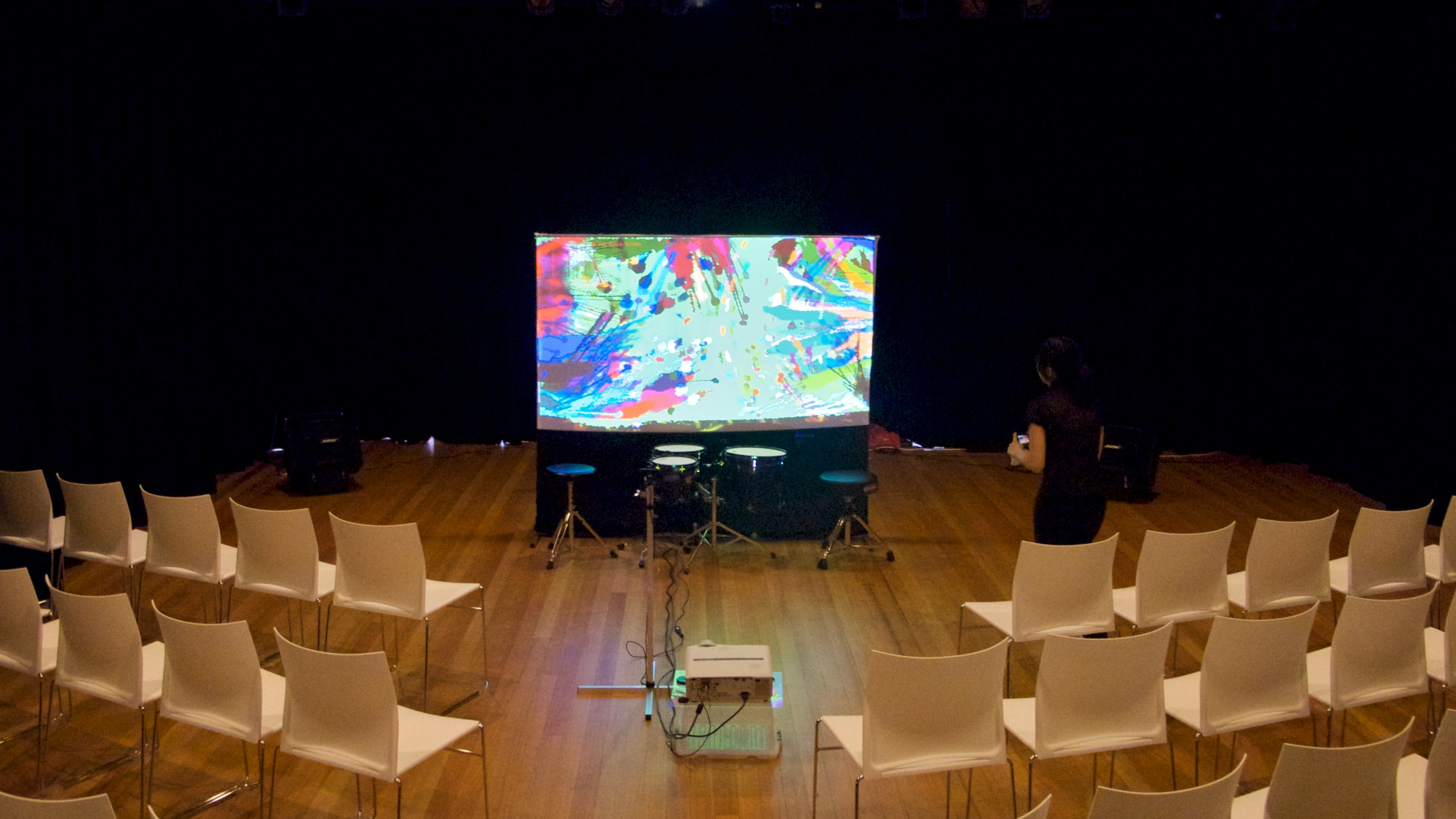 The stage setup for Strike on Stage at Belconnen Arts Centre, Canberra.
